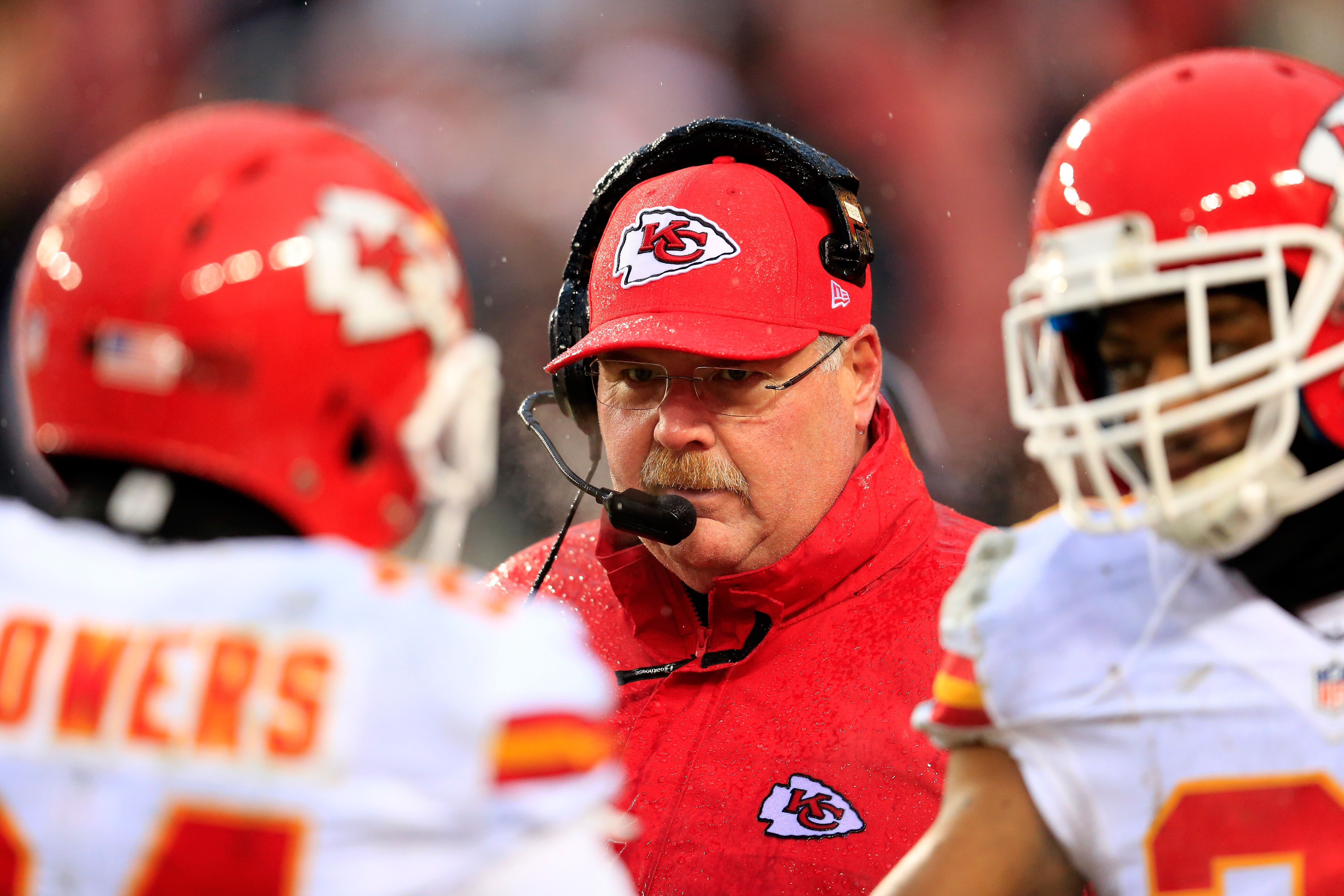LANDOVER, MD - DECEMBER 08: Head coach Andy Reid of the Kansas City Chiefs looks on from the sidelines during the second half against the Washington Redskins at FedExField on December 8, 2013 in Landover, Maryland. </p>                 </div>             </div>          </div>                   <div class=