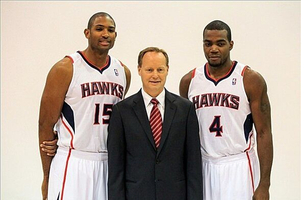 Sep 30 2013 Atlanta GA USA Hawks Power Forward Al Horford 15 And Paul Millsap 4 Pose With Head Coach Mike Budenholzer