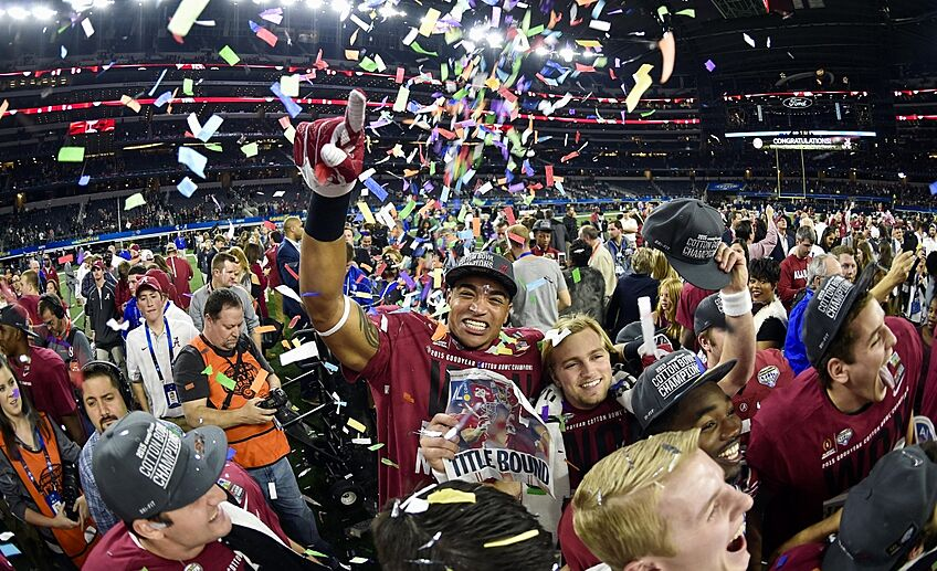 Dec 31, 2015; Arlington, TX, USA; Alabama Crimson Tide players celebrate the win over Michigan State Spartans in the 2015 CFP semifinal at the Cotton Bowl at AT&T Stadium. Alabama won 38-0.Mandatory Credit: Jerome Miron-USA TODAY Sports