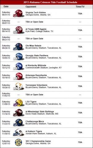 Alabama Football Early Thoughts On The 2013 Crimson Tide Schedule