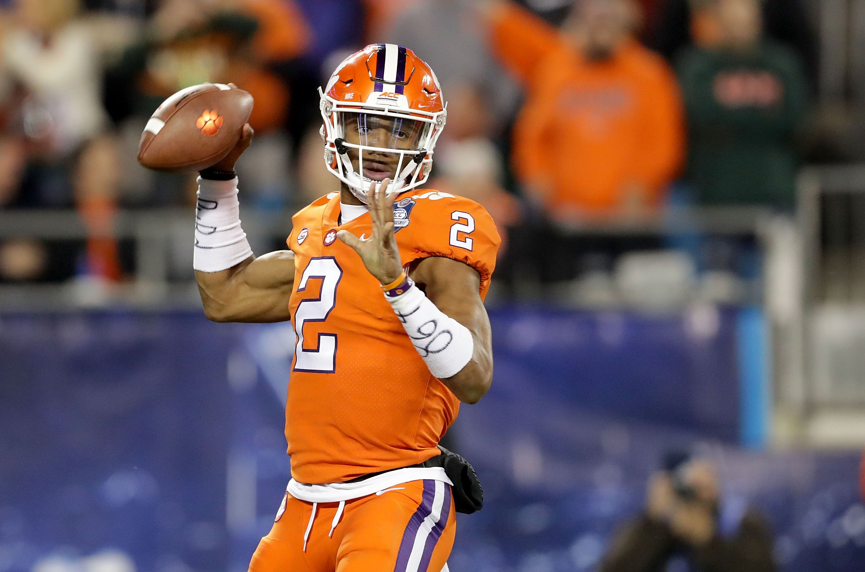 Tigers quarterback Kelly Bryant couldnt help but throw some shade the Hurricanes way after scoring a touchdown during the blowout in the making