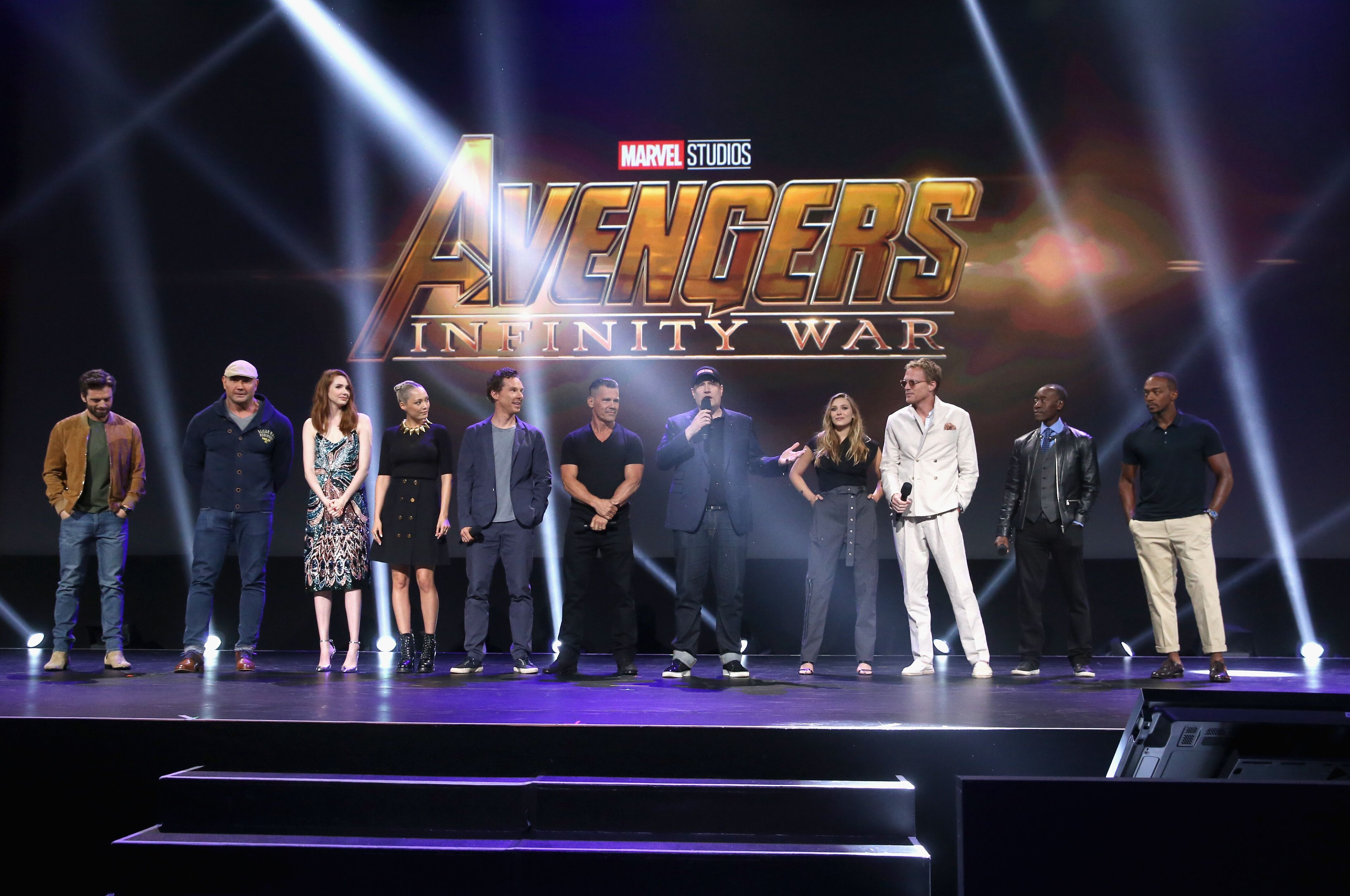 ANAHEIM, CA - JULY 15: (L-R) Actors Sebastian Stan, Dave Bautista, Karen Gillan, Pom Klementieff, Benedict Cumberbatch, and Josh Brolin, producer Kevin Feige, and actors Elizabeth Olsen, Paul Bettany, Don Cheadle, and Anthony Mackie of AVENGERS: INFINITY WAR took part today in the Walt Disney Studios live action presentation at Disney's D23 EXPO 2017 in Anaheim, Calif. AVENGERS: INFINITY WAR will be released in U.S. theaters on May 4, 2018. (Photo by Jesse Grant/Getty Images for Disney)