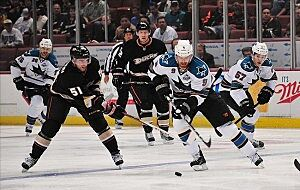 Los Angeles Kings Center Trevor Lewis Left And San Jose Sharks Right Wing Kevin