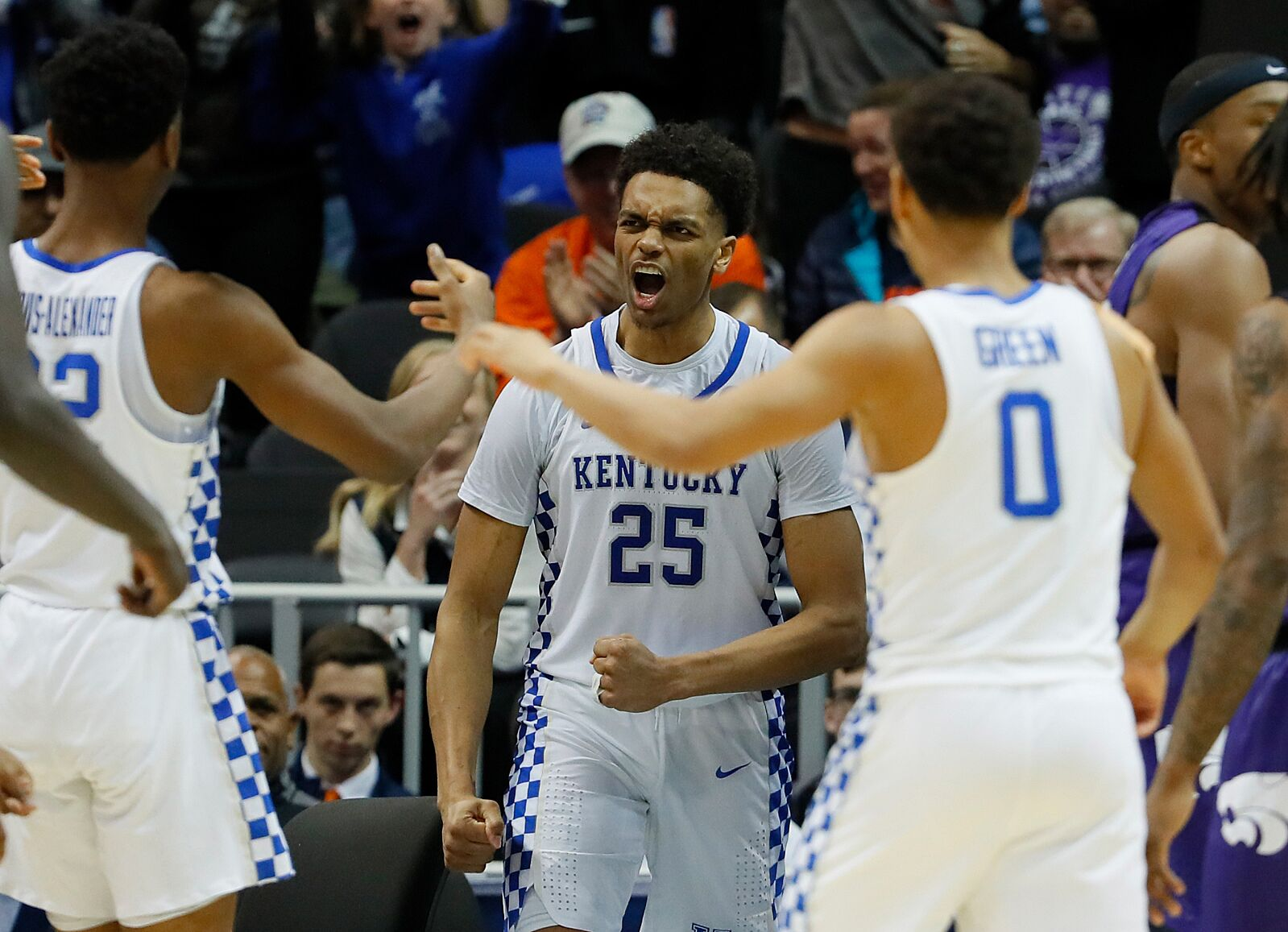 huge discount 39f99 8379e ... Washington  25 of the Kentucky Wildcats celebrates his basket against  the Kansas State Wildcats in the second half during the 2018 NCAA Men s  Basketball ...