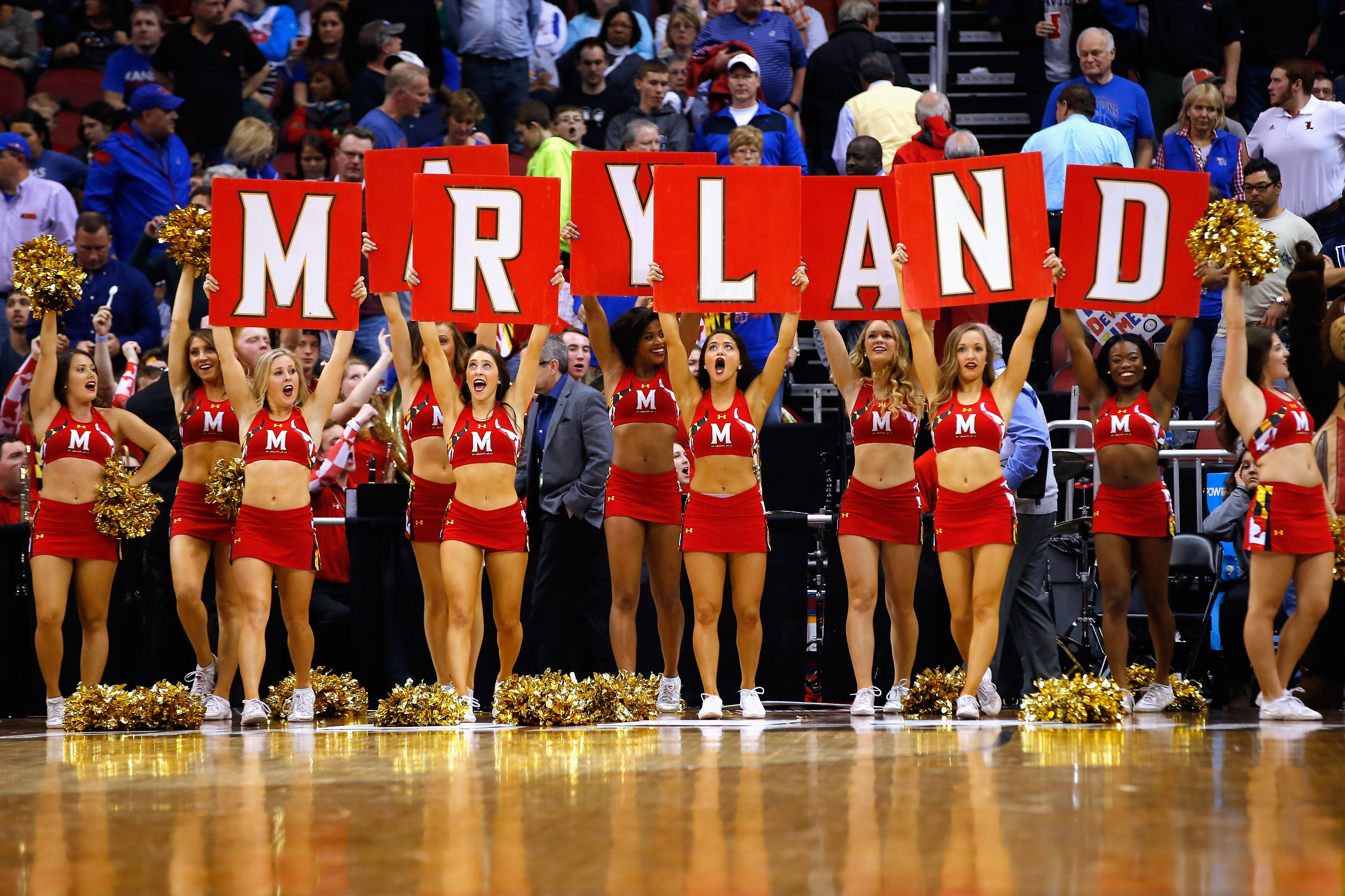 The Maryland Terrapins cheerleaders perform during the