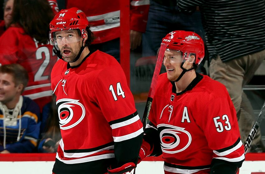 raleigh nc october 27 justin williams 14 and jeff skinner 53