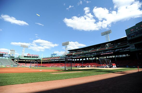 Jun 24, 2015; Boston, MA, USA; A general view of Fenway Park as the Boston Red Sox take batting practice prior to a game against the Baltimore Orioles. Mandatory Credit: Bob DeChiara-USA TODAY Sports