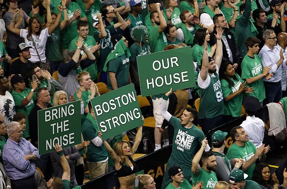 Apr 22, 2016; Boston, MA, USA; Boston Celtics fans react as they take on the Atlanta Hawks during the fourth quarter in game three of the first round of the NBA Playoffs at TD Garden. The Celtics defeated the Hawks 111-103. Mandatory Credit: David Butler II-USA TODAY Sports