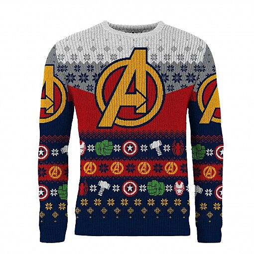 6b65d5c3ef6 Marvel  Avengers Knitted Christmas Jumper. Image via merchoid.com.