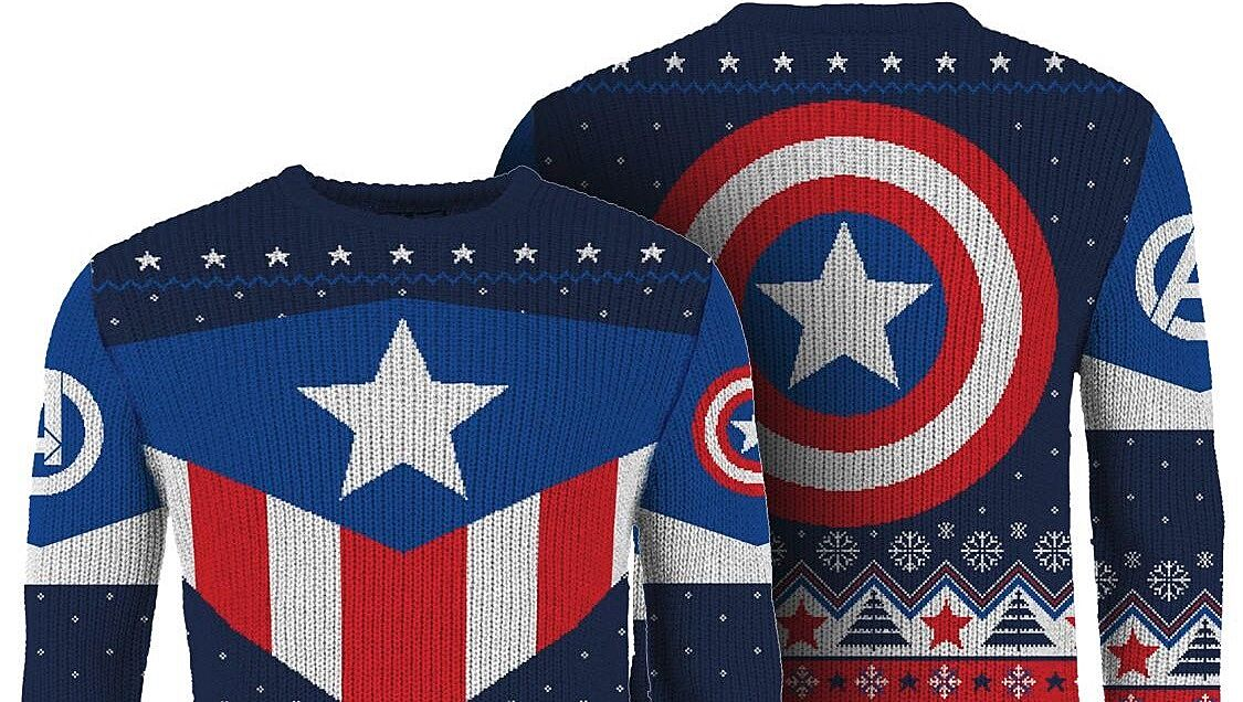 73c6561ab9f Captain America  Red White And Blue Knitted Christmas Jumper. Image via  merchoid.com.