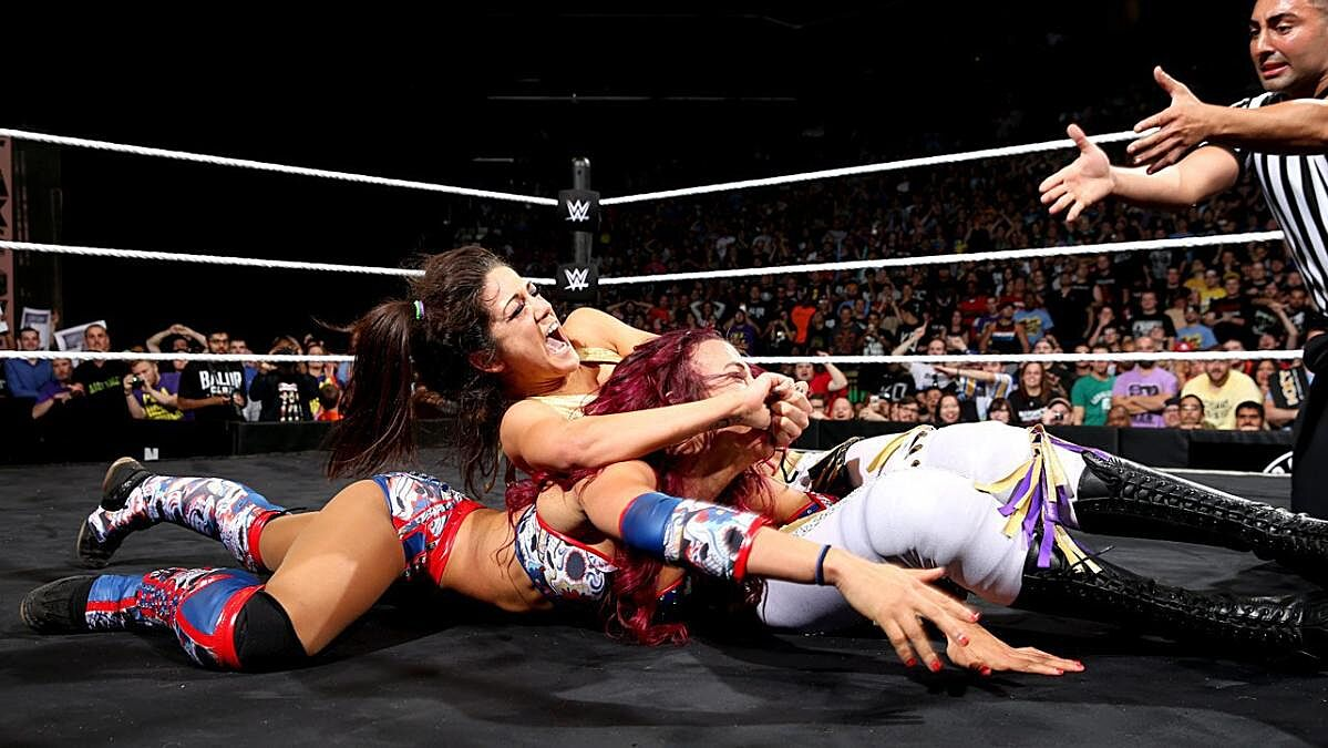 WWE NXT Sasha Banks and Bayley in the midst of their TakeOver: Brooklyn classic.