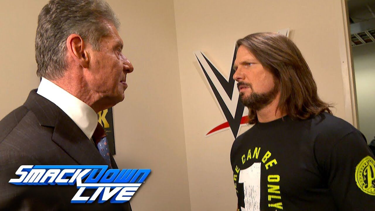 WWE SmackDown Live AJ Styles Attacks Vince McMahon