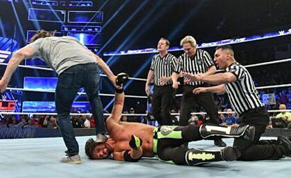 WWE SmackDown Live Daniel Bryan stomping AJ Styles