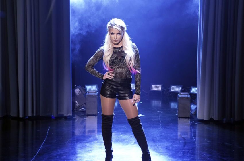 """THE TONIGHT SHOW STARRING JIMMY FALLON -- Episode 1040 -- Pictured: WWE Superstar Alexa Bliss during """"Kid Trash Talk"""" on April 3, 2019 -- (Photo by: Andrew Lipovsky/NBC/NBCU Photo Bank via Getty Images)"""