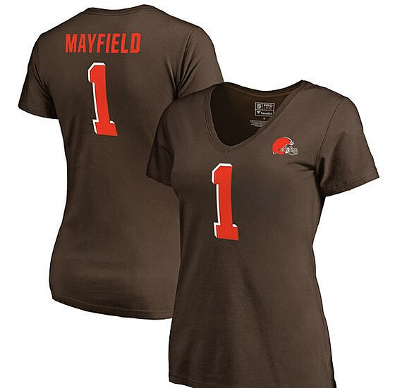 0e7747756 Baker Mayfield Cleveland Browns NFL Pro Line by Fanatics Branded Women s  Authentic Name   Number T-Shirt