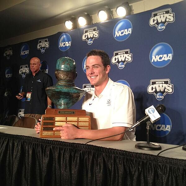 12ff11059eb Dick Howser Trophy winner Kris Bryant poses with his new hardware via  mlb