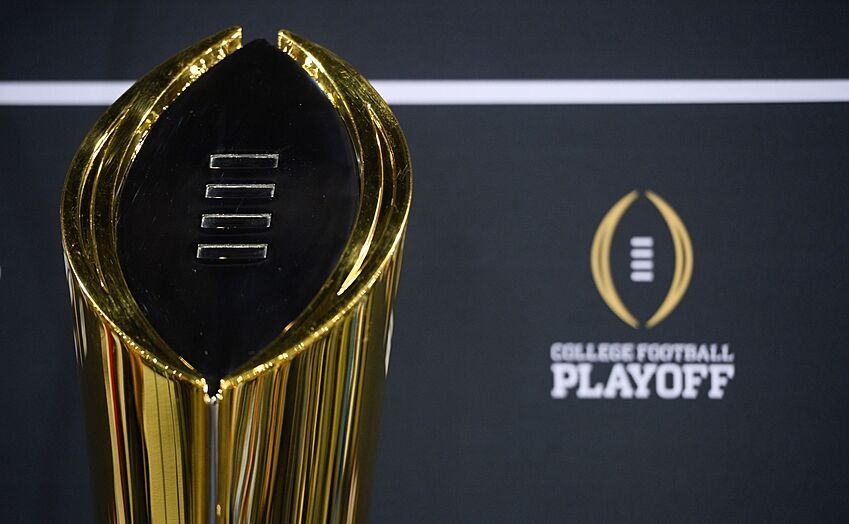 jan 9 2016 phoenix az usa general view of the college football playoff trophy during media day at phoenix convention center - Christmas Day College Football