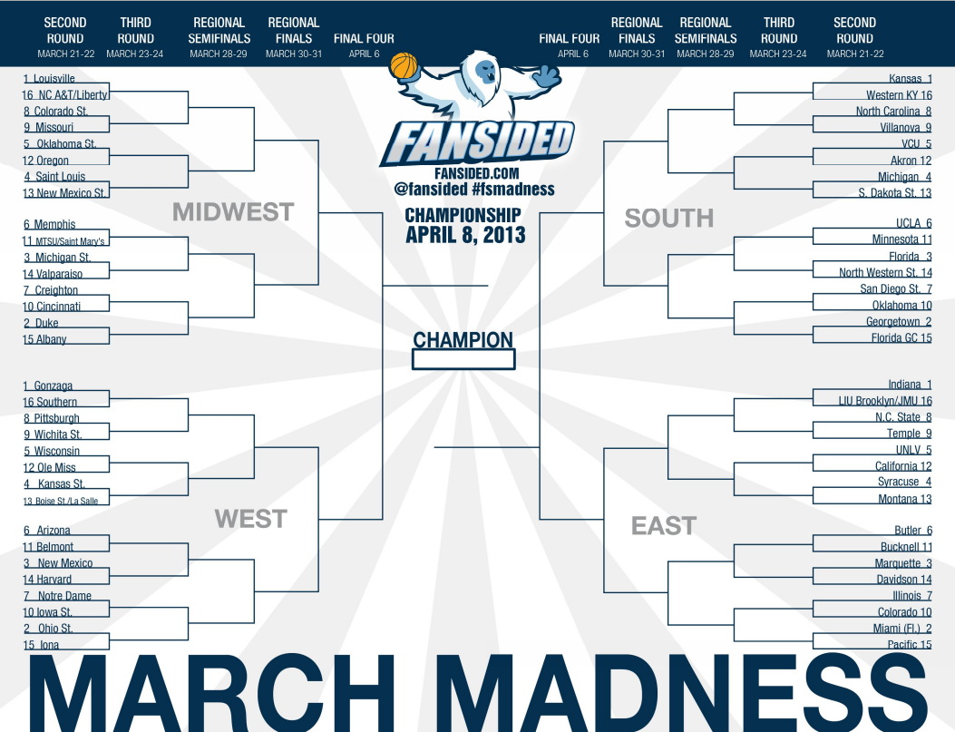Printable 2013 March Madness Bracket Complete Tournament