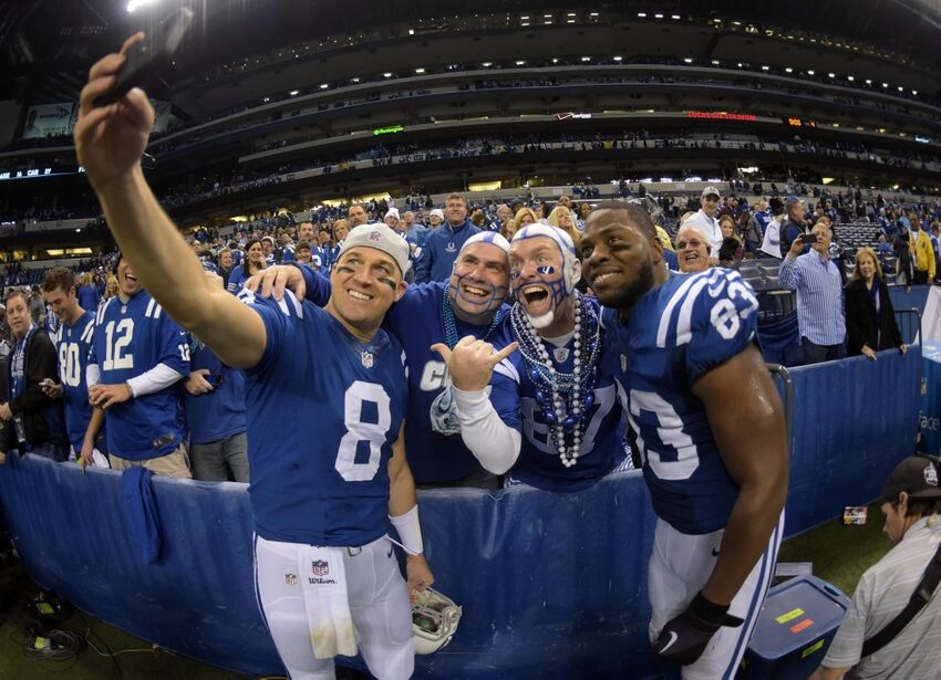 AFC Wild Card: Colts celebrate in locker room after win ...