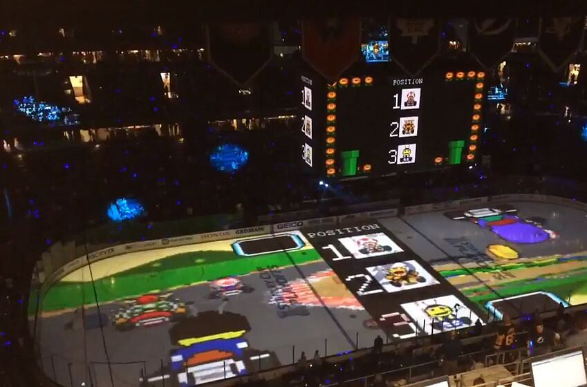 Tampa Bay Lightning turned their ice rink into a Mario Kart
