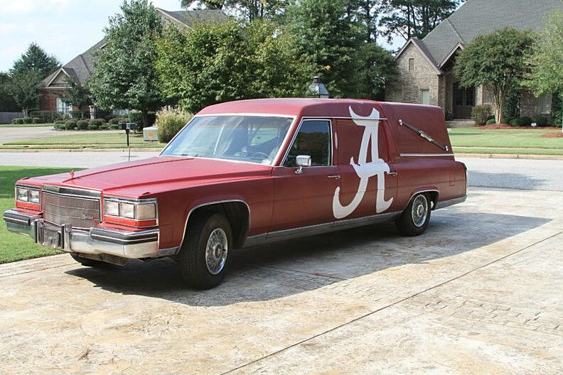 There is a Cadillac Alabama Roll Tide hearse for sale on