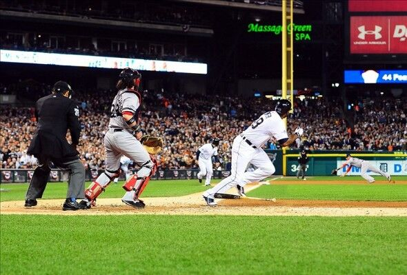 Oct   Detroit Mi Usa Detroit Tigers Right Fielder Torii Hunter  Hits A  Rbi Double Against The Boston Red Sox During The Second Inning In