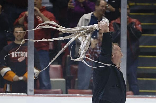 Man twirls octopus over his head on ice at red wings game gif may 10 2013 detroit mi usa al sobotka swings an octopus that was throw on the ice before game six of the first round of the 2013 stanley cup playoffs voltagebd Gallery