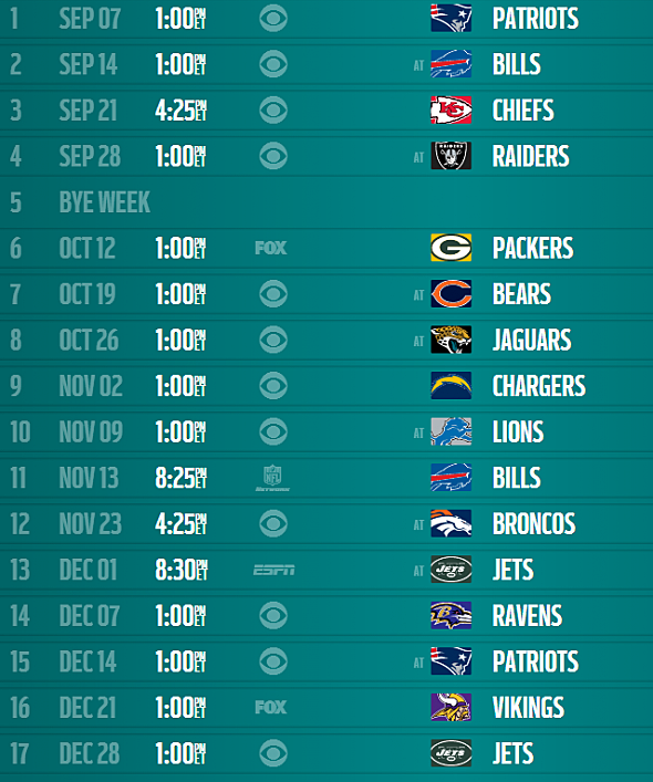 San Diego Chargers Home Schedule 2014: Miami Dolphins 2014 Schedule Released