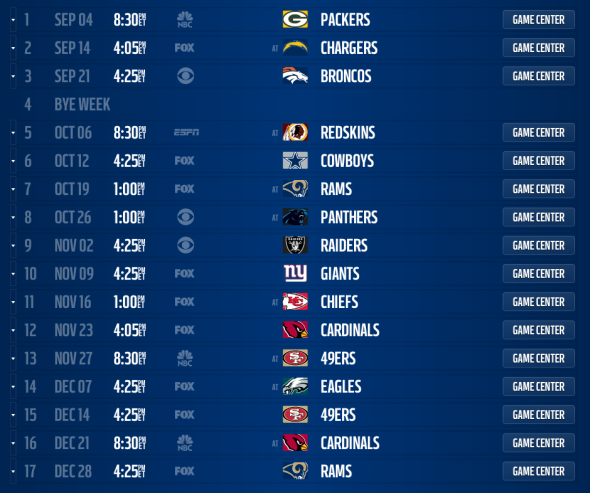 Seattle Seahawks 2014 Schedule Released