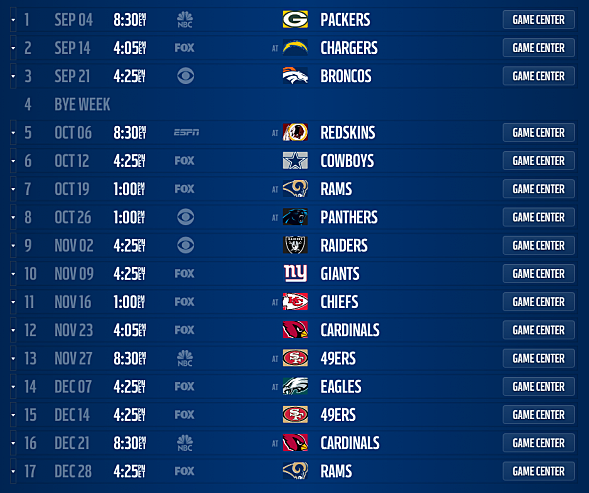 San Diego Chargers Home Schedule 2014: Seattle Seahawks 2014 Schedule Released