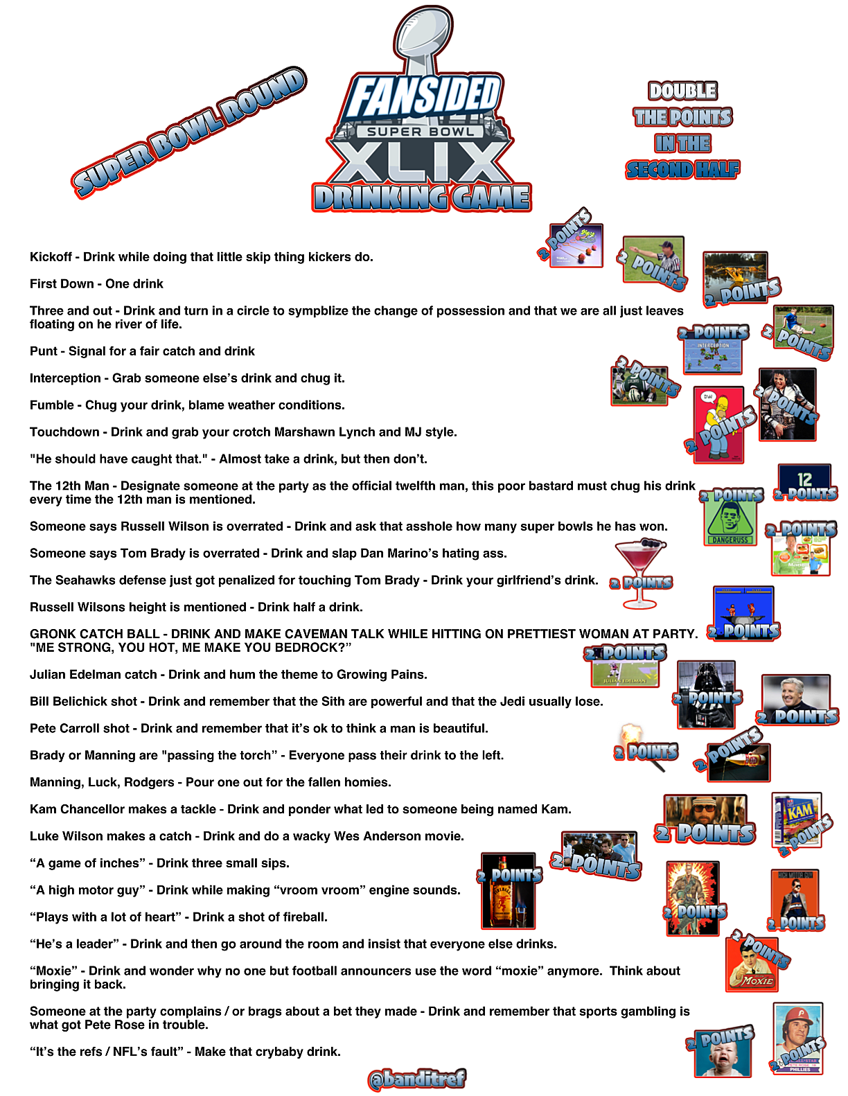 Super Bowl 49 drinking game for Seahawks vs  Patriots