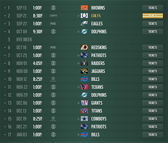 new york jets 2015 schedule released dates and times