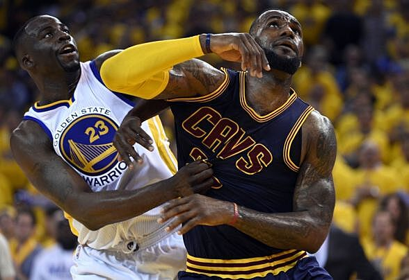 b53bb729ff1 Jun 4, 2015; Oakland, CA, USA; Cleveland Cavaliers forward LeBron James  (23) and Golden State Warriors forward Draymond Green (23) fight for a  rebound ...