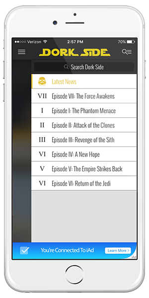 Dork Sided Launches Star Wars App For iOS Devices
