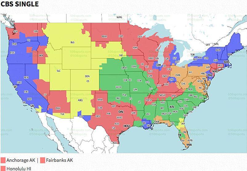 NFL Coverage Map TV Schedule Week - Atlanta falcons us fan map