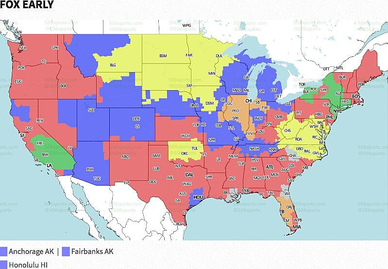 NFL Coverage Map TV Schedule Week - Nfl us map