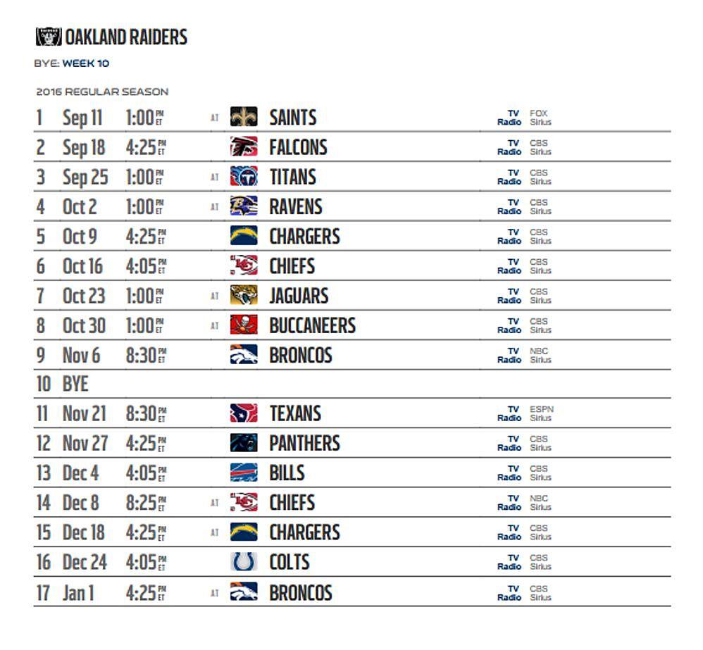 oakland raiders' 2016 nfl schedule released