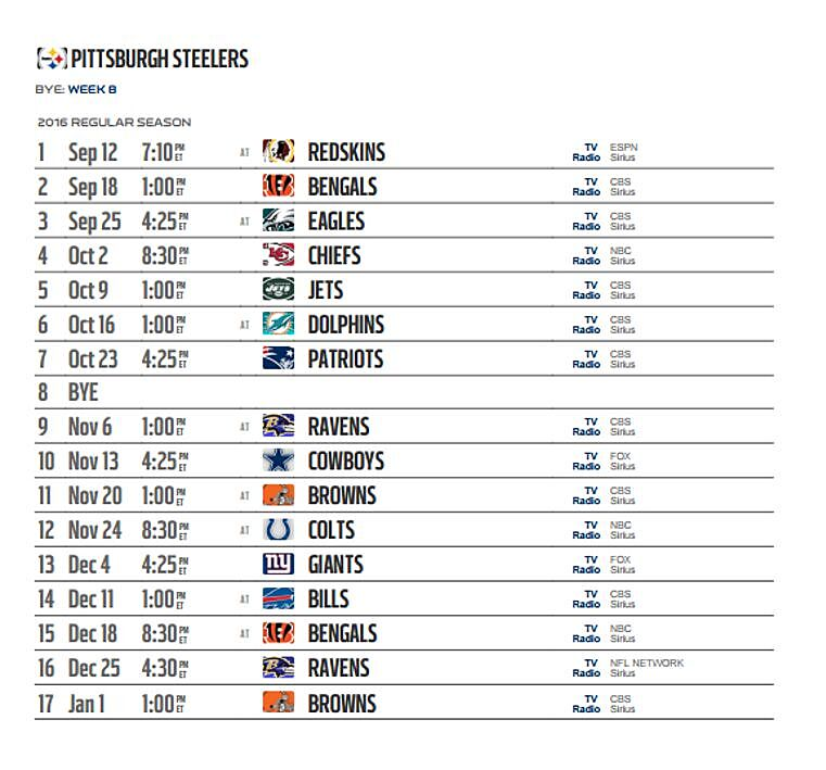 b06cacb8 Pittsburgh Steelers' 2016 NFL schedule released