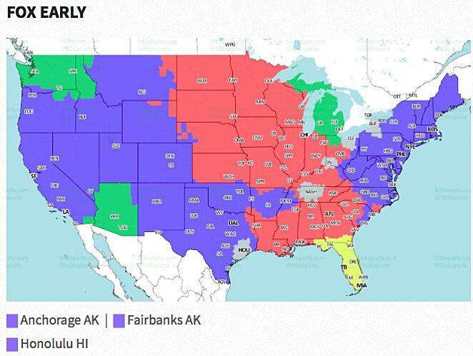NFL Week Broadcast Map - Atlanta falcon us fan map