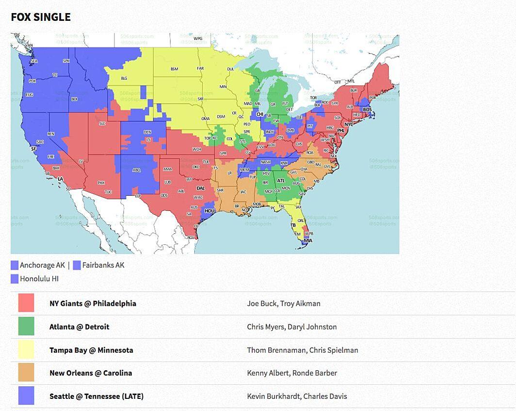 NFL Week 3 2017: Broadcast map