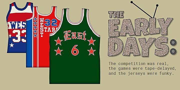 7729aa77d3e The NBA s first All-Star Game was held in 1951 in the old Boston Garden and  it featured some pretty tame uniforms – just six small stars on a solid