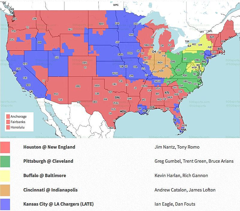 Nfl coverage map 2018 tv schedule week 1 the cbs slate has the top announcing duo of nantz and romo in new england for the patriots hosting the houston texans in the late window the kansas city publicscrutiny Image collections