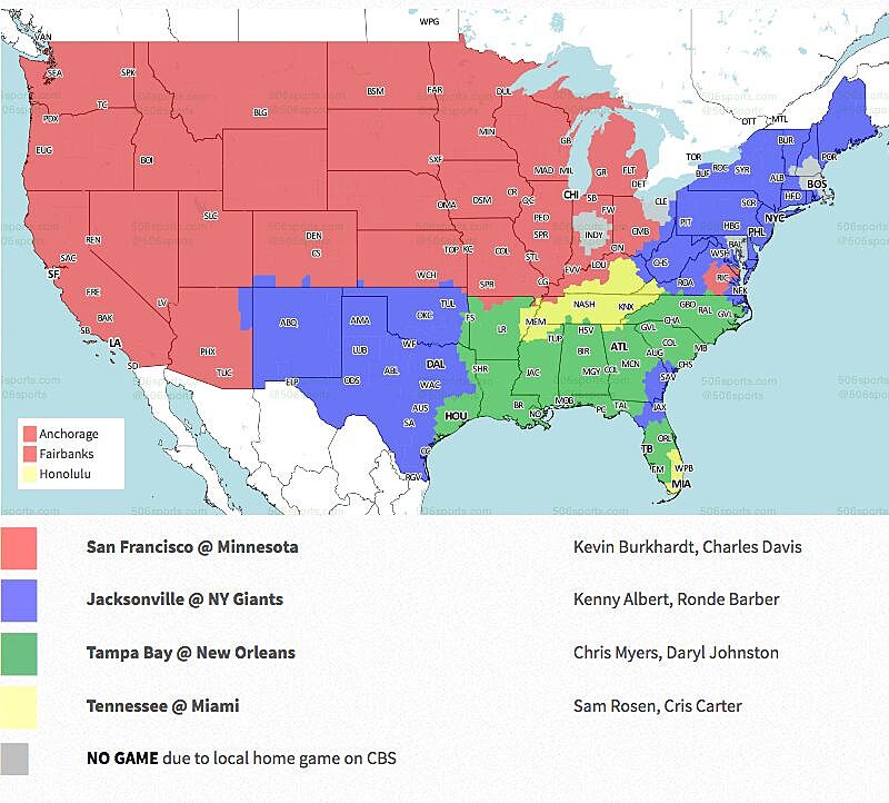 Nfl coverage map 2018 tv schedule week 1 over on fox the early window has four games including the tennessee titans and miami dolphins which was flexed from cbs most of the country will see the publicscrutiny Image collections