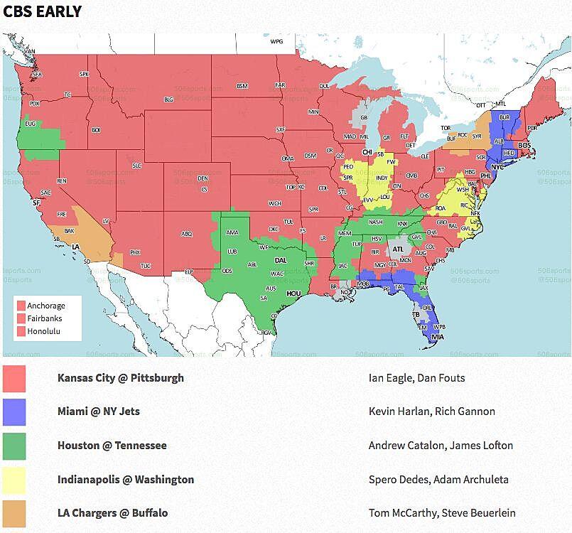 NFL Week 2 2018: Broadcast map