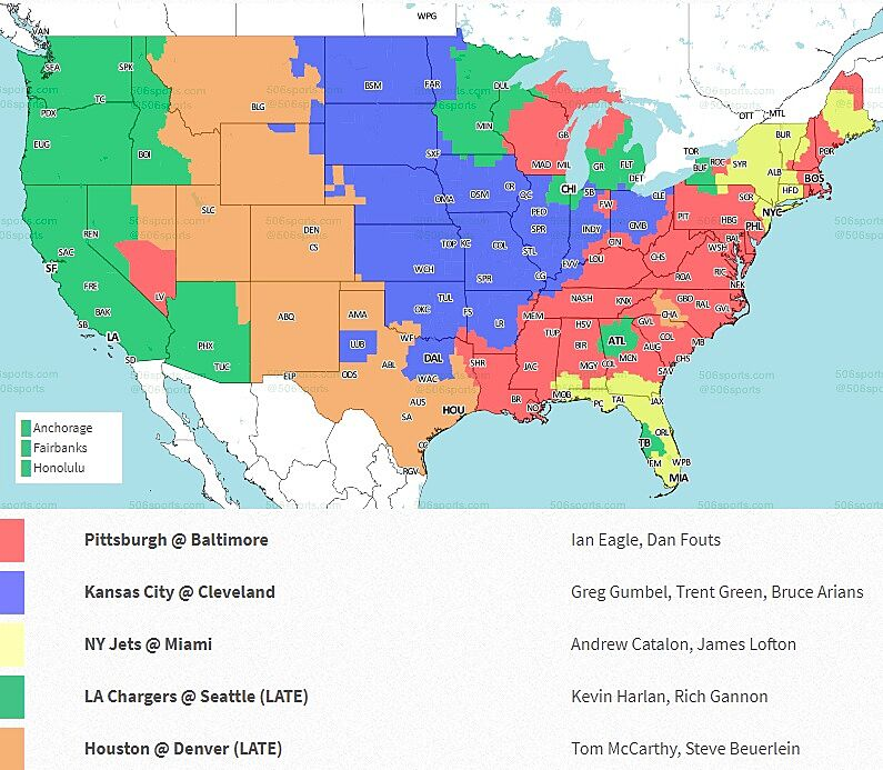 NFL Week 9 2018: Broadcast map  Nfl Maps on