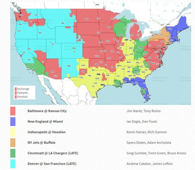 NFL coverage map 2018: TV schedule Week 14