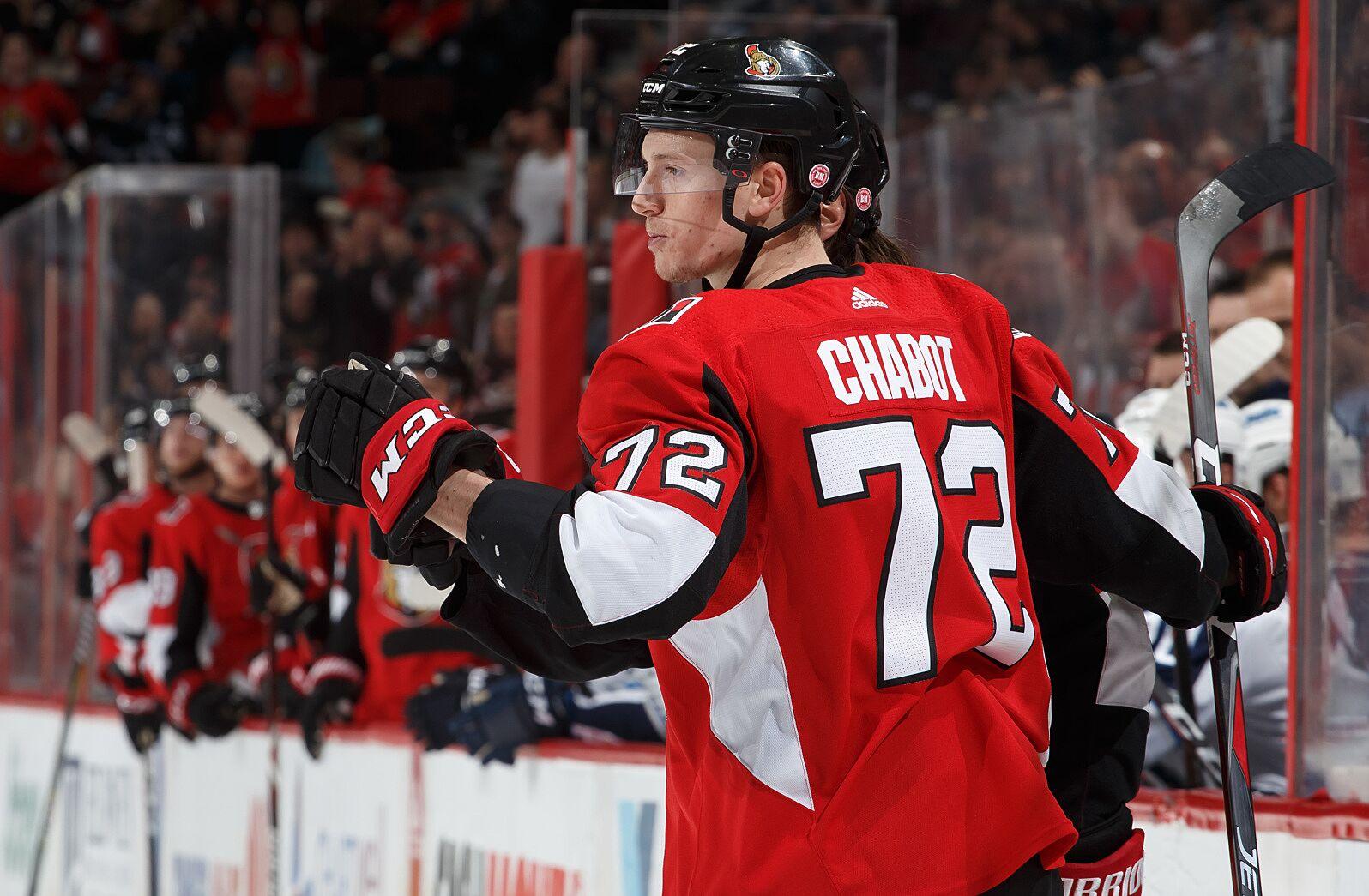 4b58a8e1892 OTTAWA, ON – APRIL 2: Thomas Chabot #72 of the Ottawa Senators celebrates  his third period goal against the Winnipeg Jets at Canadian Tire Centre on  April 2 ...