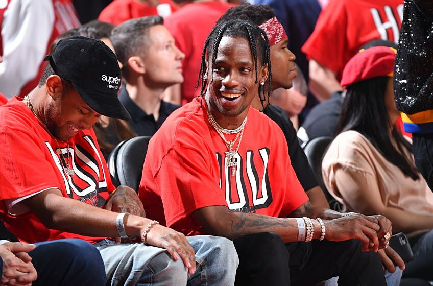 7a486c613df0 HOUSTON, TX – MAY 14: Travis Scott attends Game One of the Western  Conference Finals between the Golden State Warriors and the Houston Rockets  during the ...