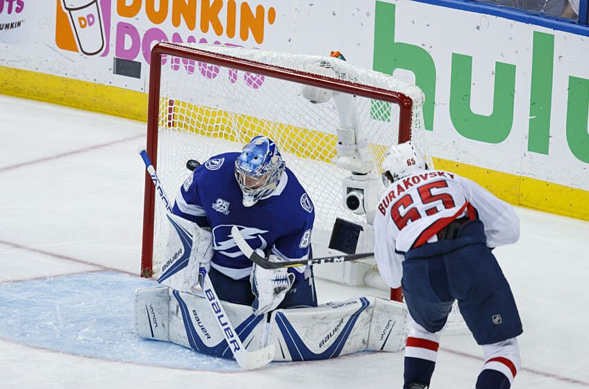 2ba5ce54637 ...  88 of the Tampa Bay Lightning gives up a goal Andre Burakovsky  65 of  the Washington Capitals during Game Seven of the Eastern Conference Final  ...
