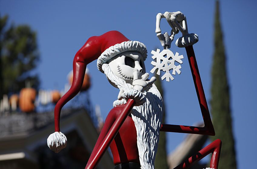 jack skellington from the nightmare before christmas dressed as santa claus is displayed in front of the haunted mansion holiday at walt disney co - Nightmare Before Christmas Streaming